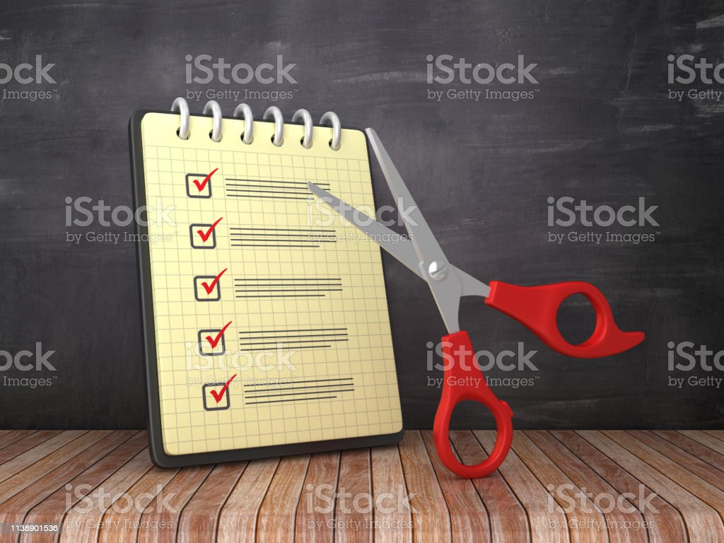 Check List Note Pad with Scissors on Chalkboard Background - 3D...