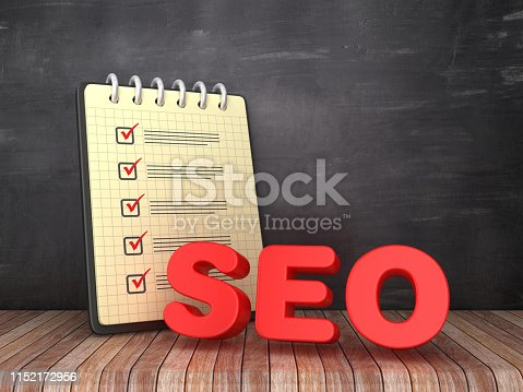1172996896 istock photo Check List Note Pad with SEO Word on Chalkboard Background  - 3D Rendering 1152172956