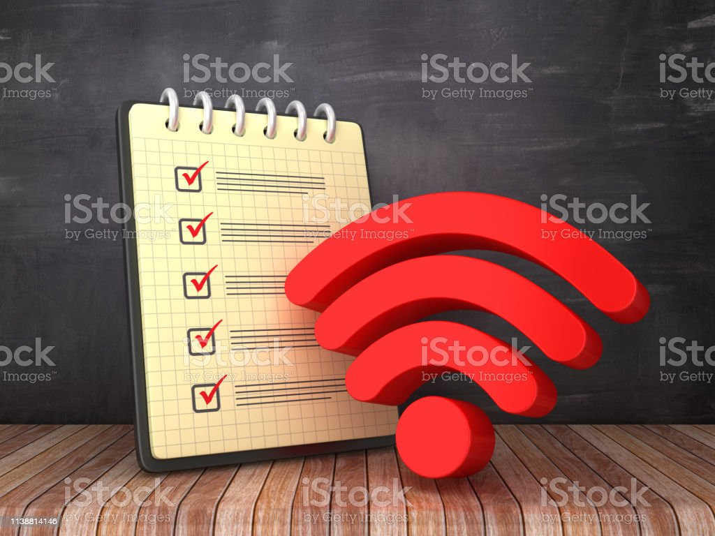 Check List Note Pad with WIFI Symbol on Chalkboard Background - 3D...
