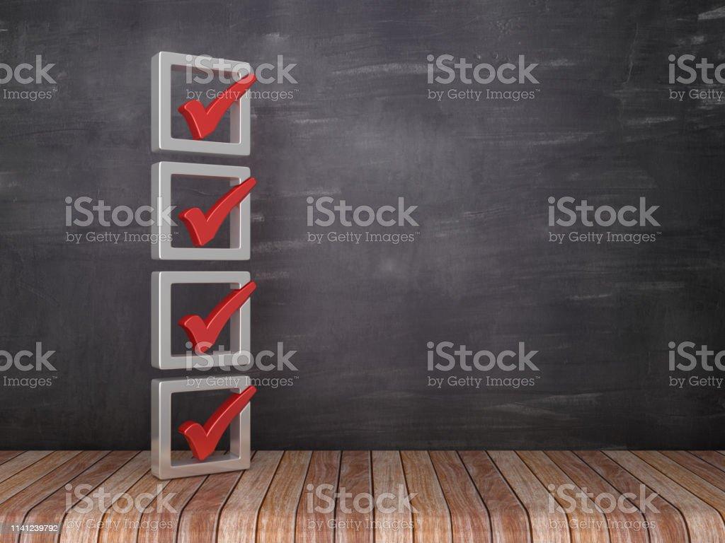 3D Check List on Chalkboard Background - 3D Rendering