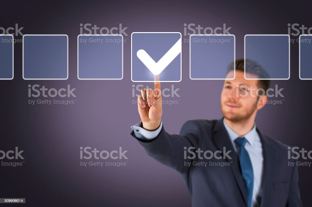 Check List on Screen stock photo