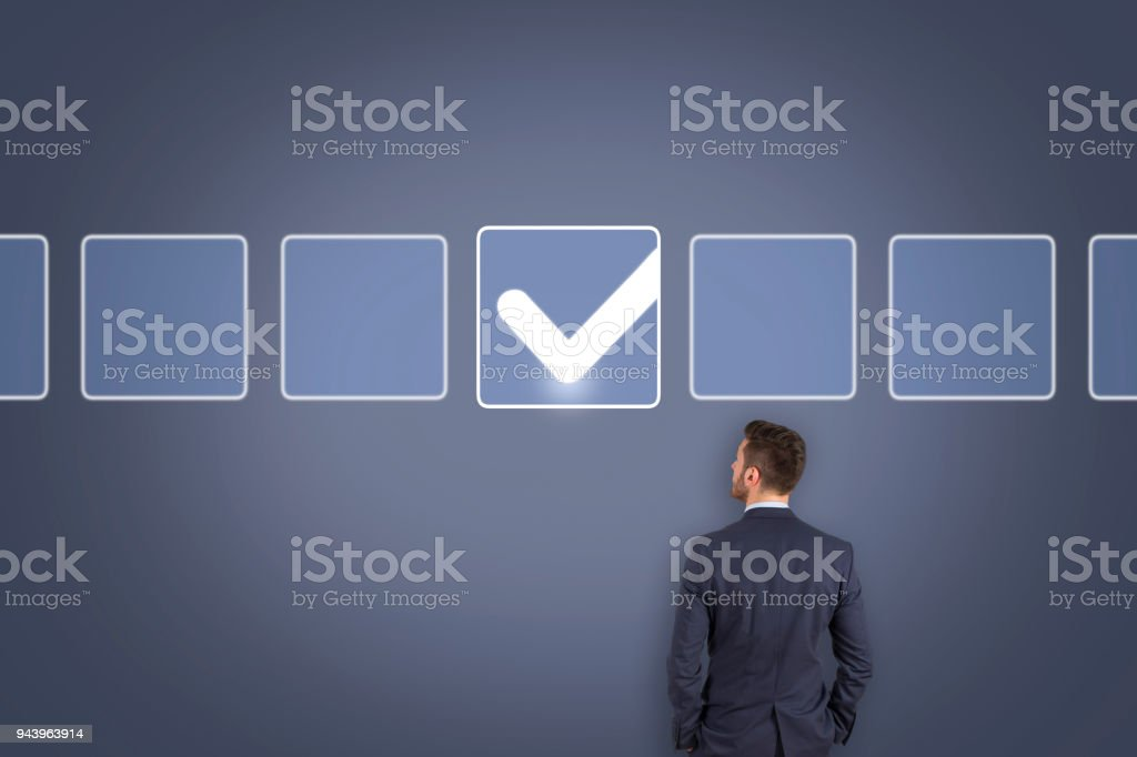 Check List on Touch Screen stock photo