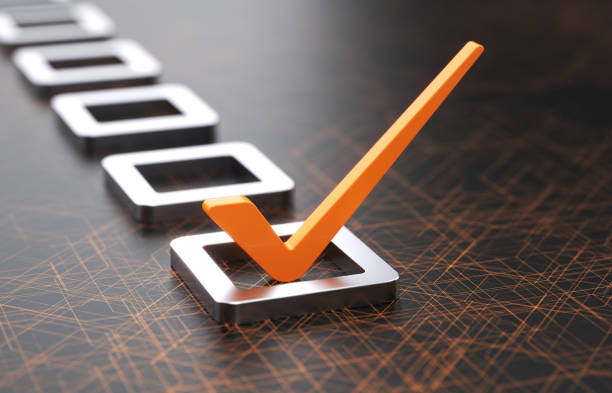 Check list Orange check mark on a technology background checklist stock pictures, royalty-free photos & images