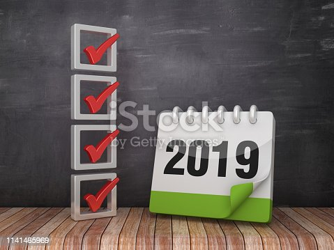 istock 3D Check List with 2019 Calendar on Chalkboard Background - 3D Rendering 1141465969