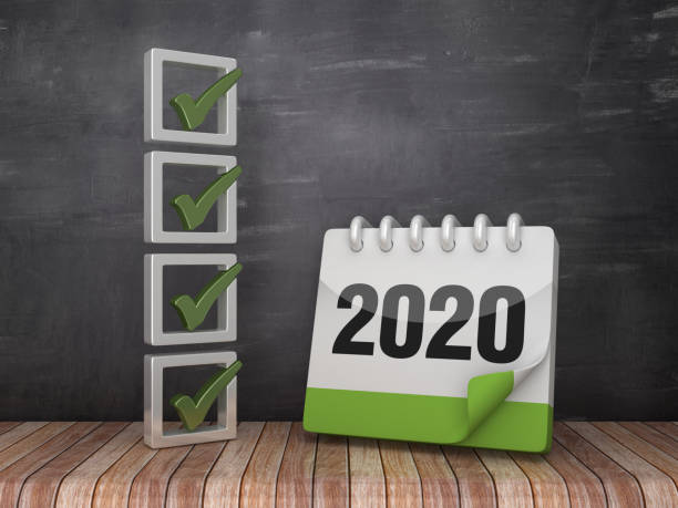 3D Check List with 2020 Calendar on Chalkboard Background - 3D Rendering stock photo