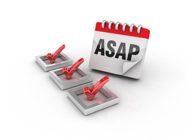 3D Check List with ASAP Calendar - 3D Rendering 3D Check List with ASAP Calendar - White Background - 3D Rendering ASAP stock pictures, royalty-free photos & images