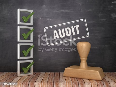 3D Check List with AUDIT Rubber Stamp on Chalkboard Background - 3D Rendering