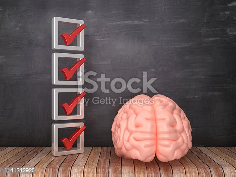 3D Check List with Brain on Chalkboard Background - 3D Rendering