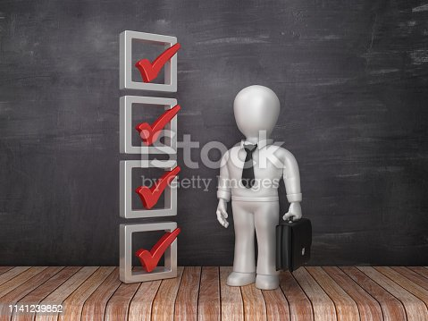 istock 3D Check List with Business Characters on Chalkboard Background - 3D Rendering 1141239852