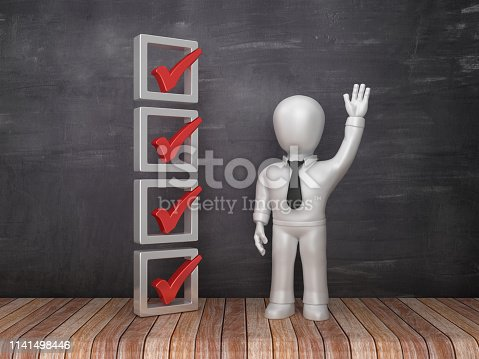 3D Check List with Business Characters on Chalkboard Background - 3D Rendering