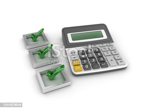 494762574istockphoto 3D Check List with Calculator - 3D Rendering 1044929646