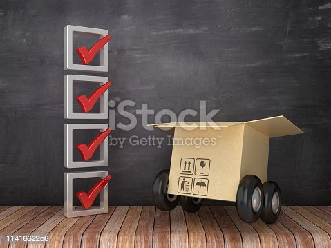 537516368 istock photo 3D Check List with Cardboard Box on Wheels on Chalkboard Background - 3D Rendering 1141662256