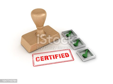istock Check List with Certified Rubber Stamp - 3D Rendering 1047743764