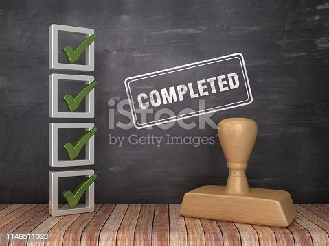 3D Check List with COMPLETED Stamp on Chalkboard Background - 3D Rendering