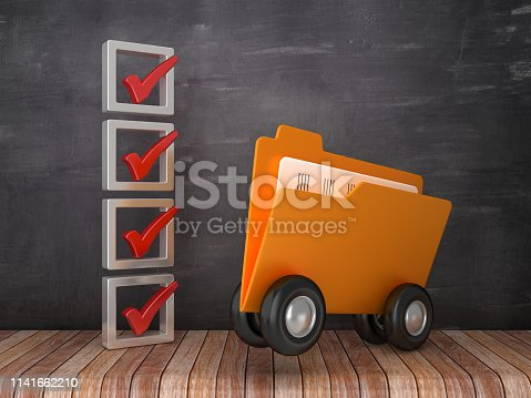 3D Check List with Computer Folder On Wheels on Chalkboard Background - 3D Rendering