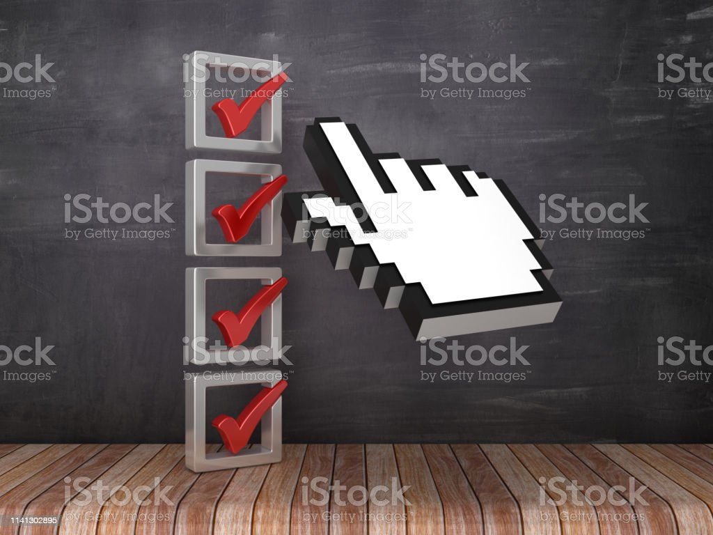 3D Check List with Computer Hand Cursor on Chalkboard Background - 3D...