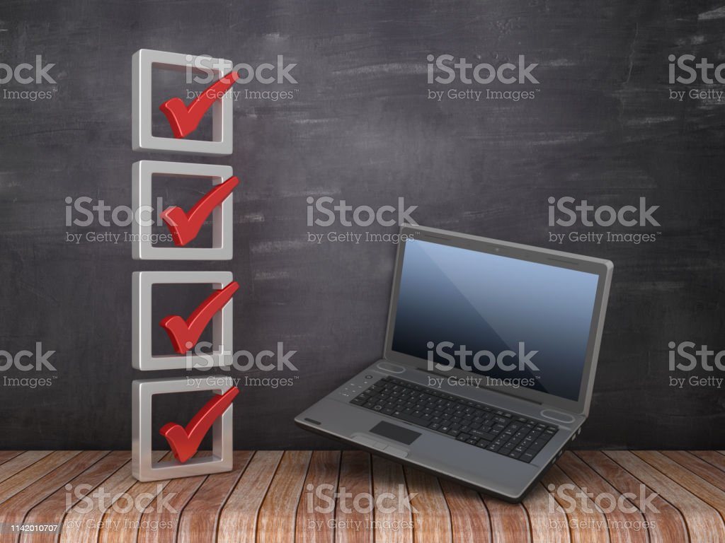 3D Check List with Computer Laptop on Chalkboard Background - 3D...