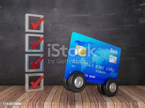istock Check List with Credit Card - Chalkboard Background - 3D Rendering 1144871689