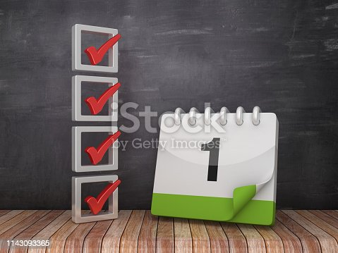 1073023470 istock photo 3D Check List with Day 1 Calendar on Chalkboard Background - 3D Rendering 1143093365
