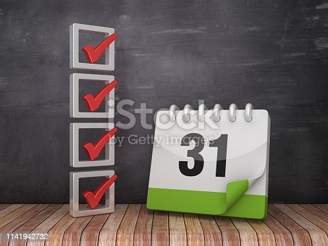 1073023470 istock photo 3D Check List with Day 31 Calendar on Chalkboard Background - 3D Rendering 1141942732