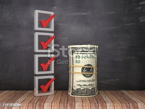 istock 3D Check List with Dollar Bill Money Roll on Chalkboard Background - 3D Rendering 1141514284