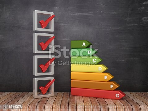3D Check List with Energy Efficiency Diagram on Chalkboard Background - 3D Rendering