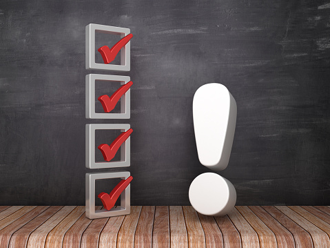 istock 3D Check List with Exclamation Point on Chalkboard Background - 3D Rendering 1141297625