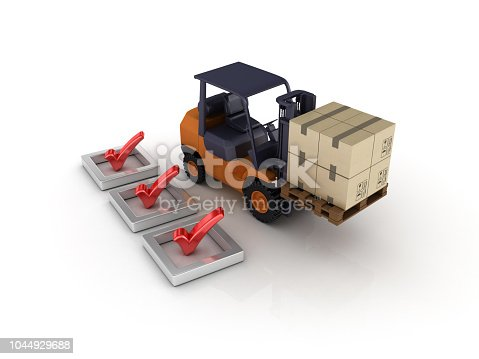 istock 3D Check List with Forklift Truck - 3D Rendering 1044929688