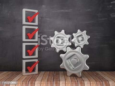 537516368 istock photo 3D Check List with Gears on Chalkboard Background - 3D Rendering 1142010692
