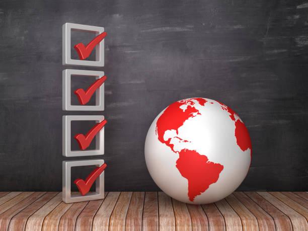 3D-Checkliste mit Globe World auf Chalkboard-Hintergrund-3D-Rendering – Foto