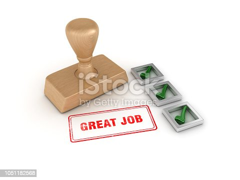 istock Check List with Great Job Rubber Stamp - 3D Rendering 1051182568