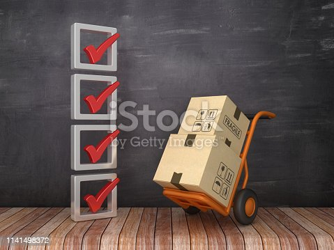 istock 3D Check List with Hand Truck on Chalkboard Background - 3D Rendering 1141498372
