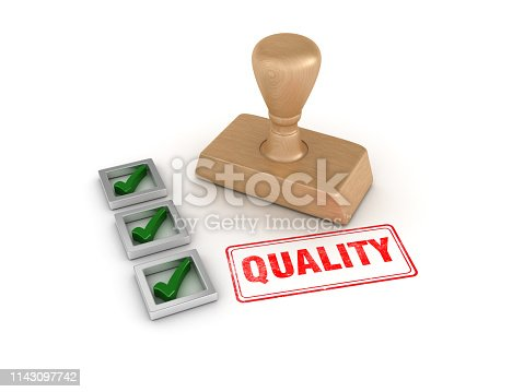 Check List with Quality Rubber Stamp - White Background - 3D Rendering