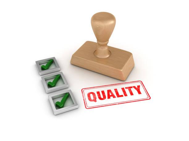 Checkliste mit Qualitäts-Gummimapempel-3D-Renderdering – Foto