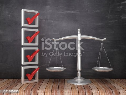 3D Check List with Scales of Justice on Chalkboard Background - 3D Rendering