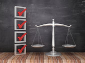 istock 3D Check List with Scales of Justice on Chalkboard Background - 3D Rendering 1141285496