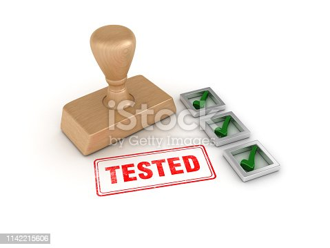 istock Check List with Tested Rubber Stamp - 3D Rendering 1142215606