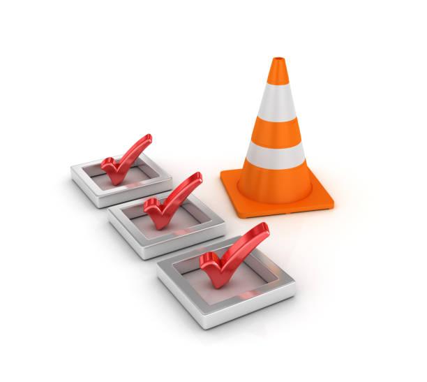 3D-Checkliste mit Verkehr Kegel - 3D Rendering – Foto