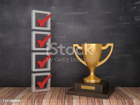 3D Check List with Trophy on Chalkboard Background - 3D Rendering