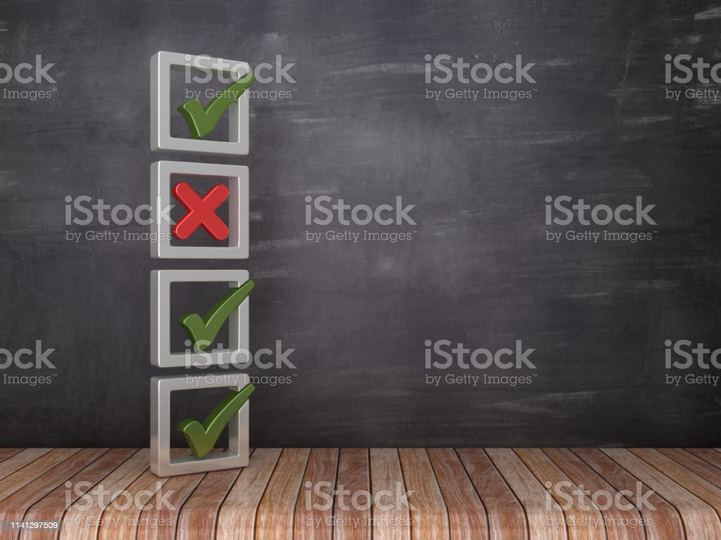 3D Check Mark and Cross List on Chalkboard Background - 3D Rendering