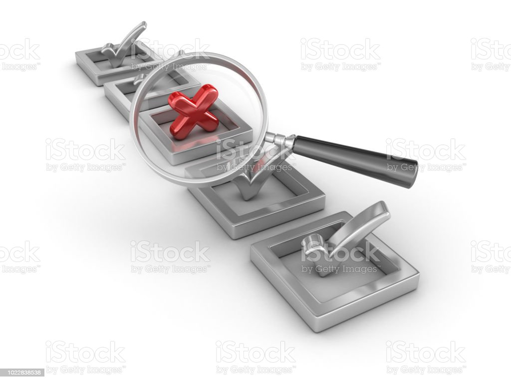 3D Check Mark and Cross with Magnifying Glass - 3D Rendering stock photo
