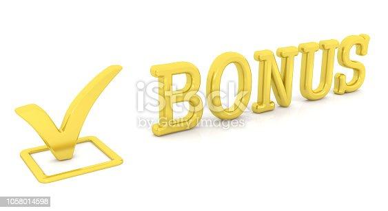 istock Check mark and word Bonus 1058014598