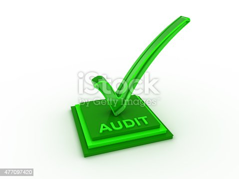 istock Check  mark icon on rectangles with AUDIT word 477097420