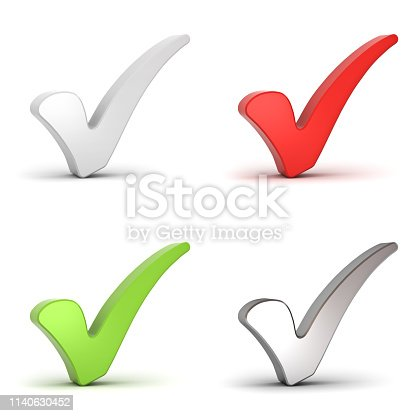 istock Check mark or 3d tick collection set isolated over white background with shadow 1140630452