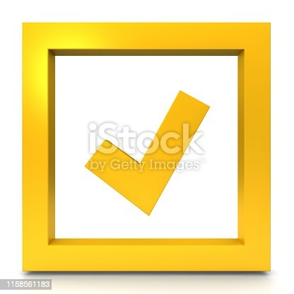 istock check mark sign tally symbol tick icon solution hook logo button yellow gold 3d render graphic illustration isolated on white background 1158561183