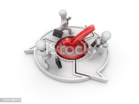 537516368 istock photo Check Mark with Arrows and Business Characters Running - 3D Rendering 1045496474