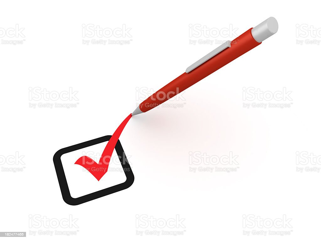 Check Mark with Pen royalty-free stock photo