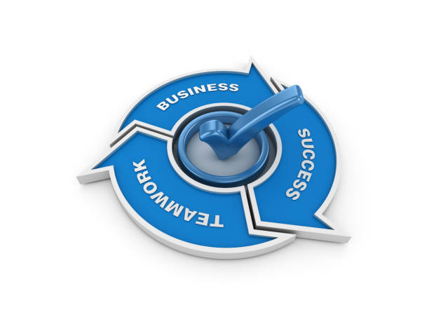 Check Mark with Teamwork Business Success Arrows - 3D Rendering - foto stock