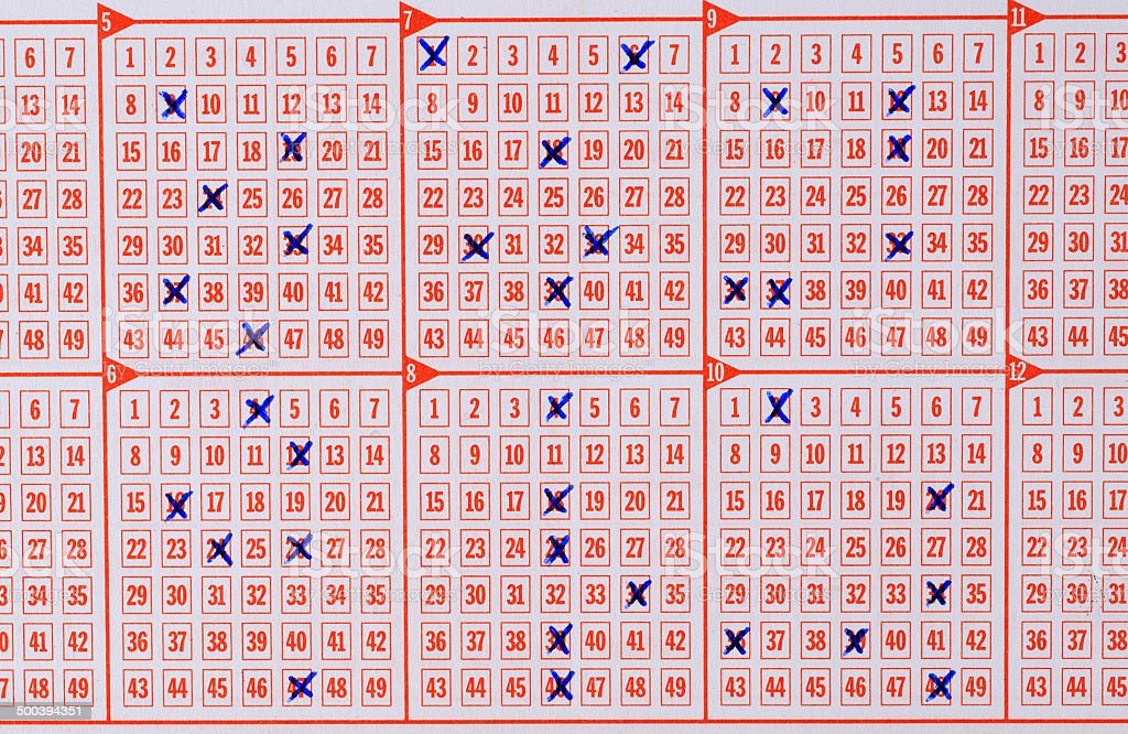 Check marks on lotto lottery ticket stock photo