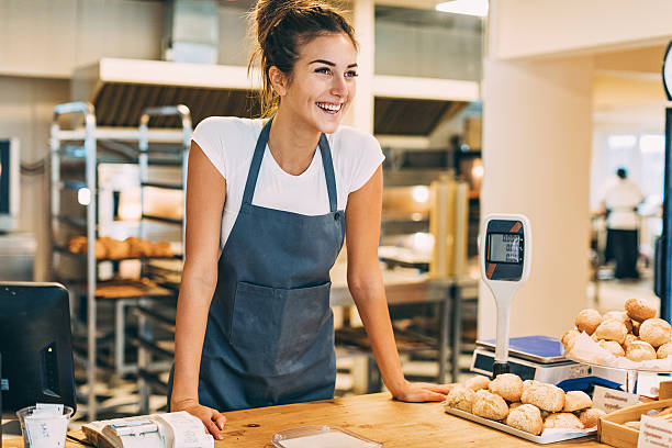 check out counter in the bakery - bakery stockfoto's en -beelden